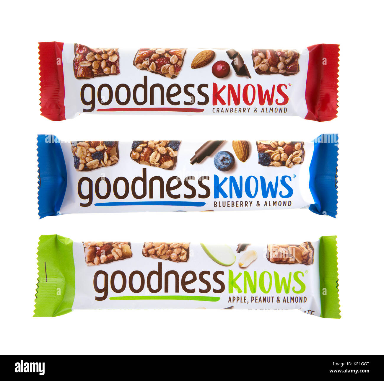 SWINDON, UK - OCTOBER 17, 2017: Three Goodness Knows Snack Bars on a white background - Stock Image