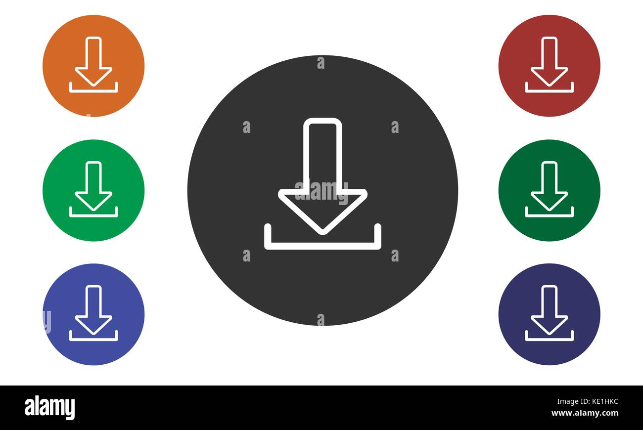 Set of colorful circular icons download on websites and