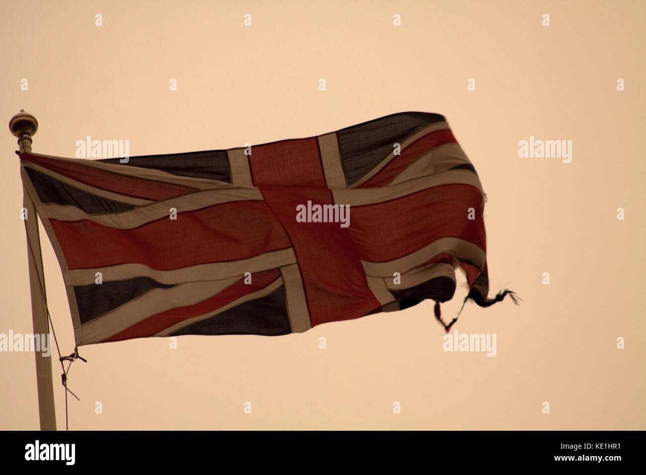 Union Jack with Ophelia Sky behind Stock Photo