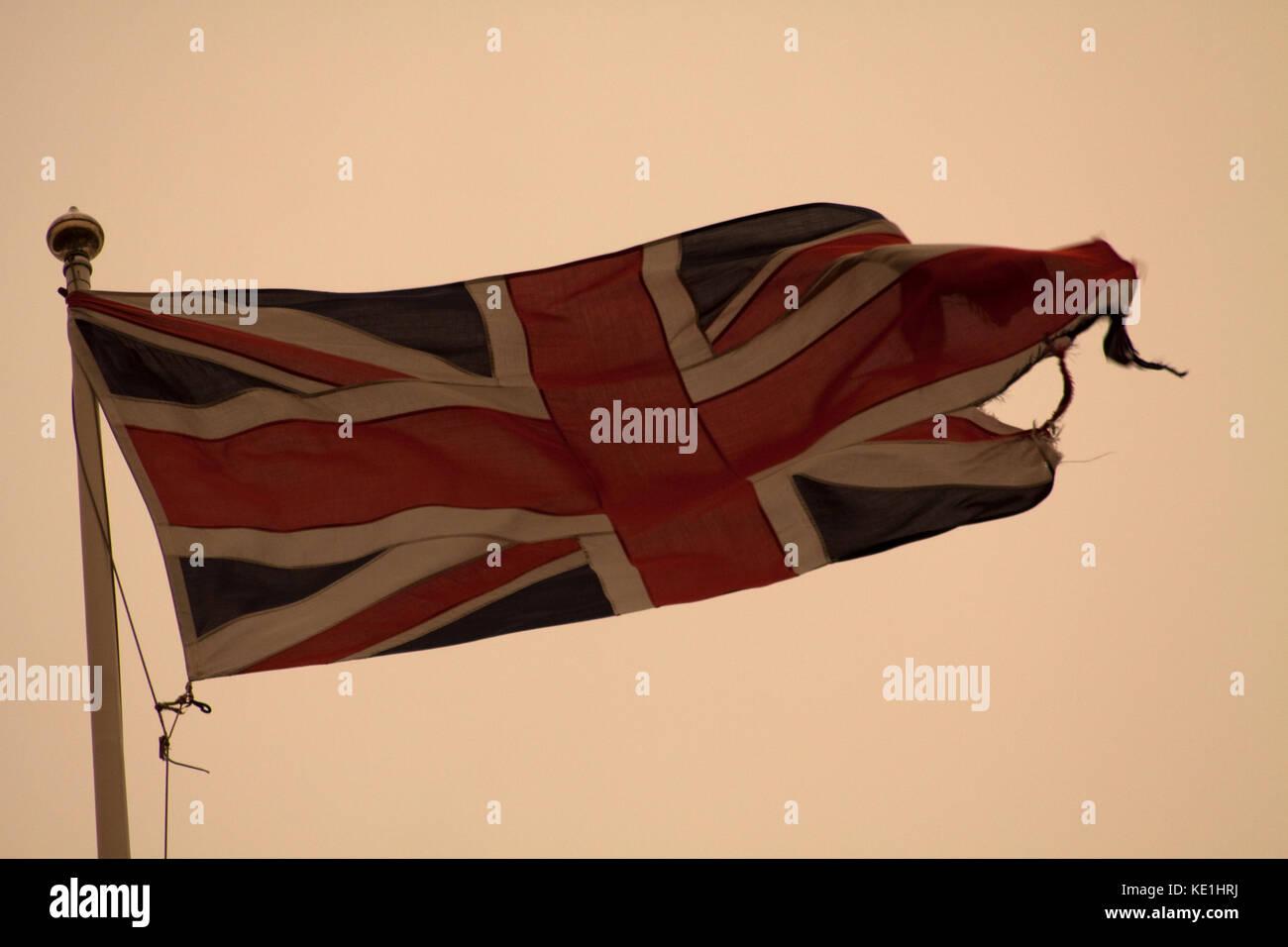 Union Jack with Ophelia Sky behind - Stock Image