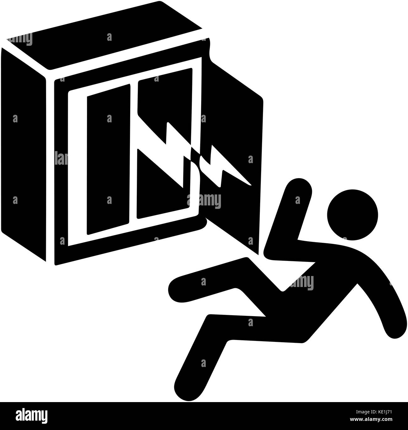 Electricity shock warning, risk of dead. Authorized person only ...