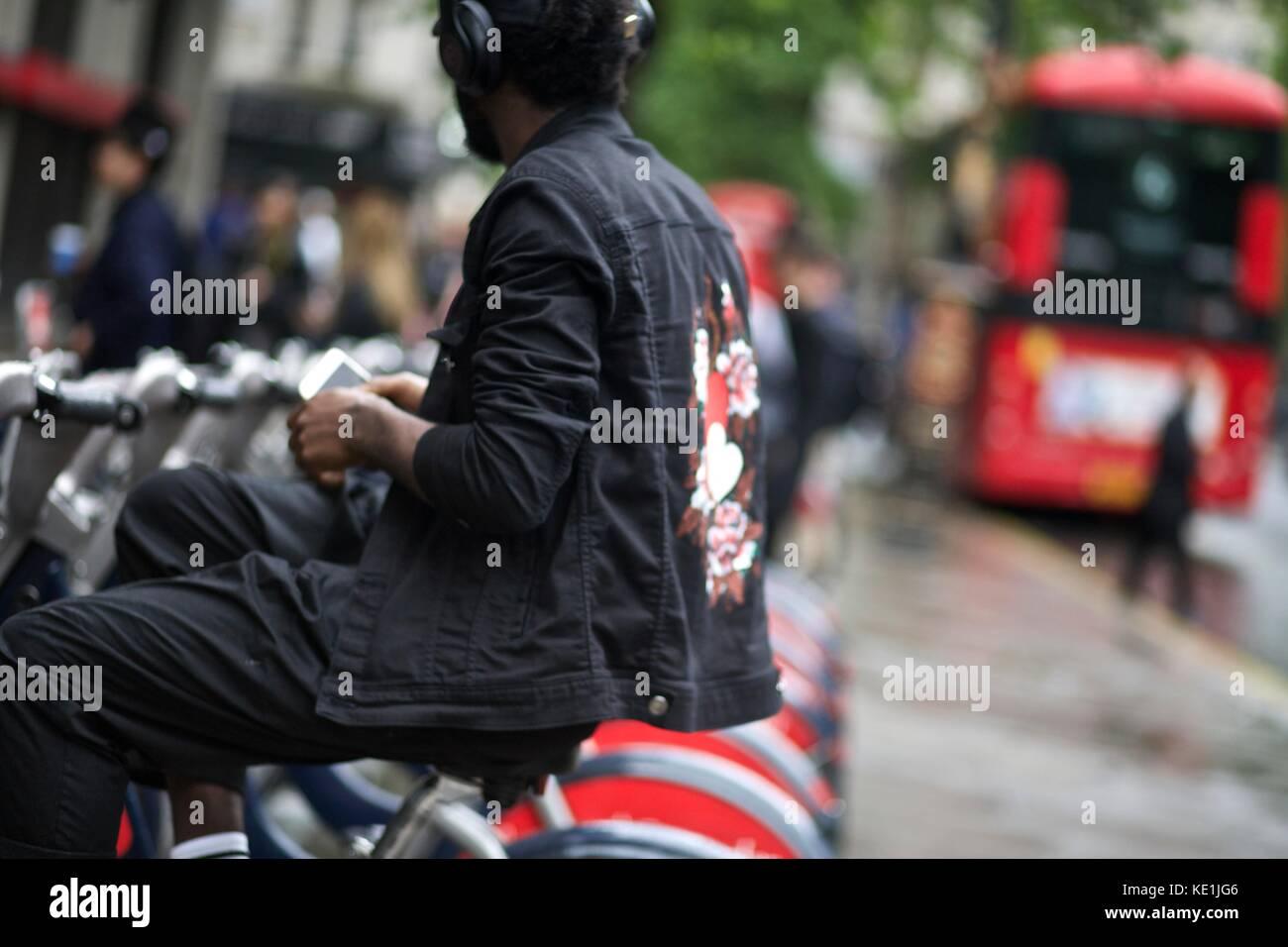 Street Style London Fashion Week Mens Spring Summer 2017 : 13th June 2016  London Uk - Stock Image