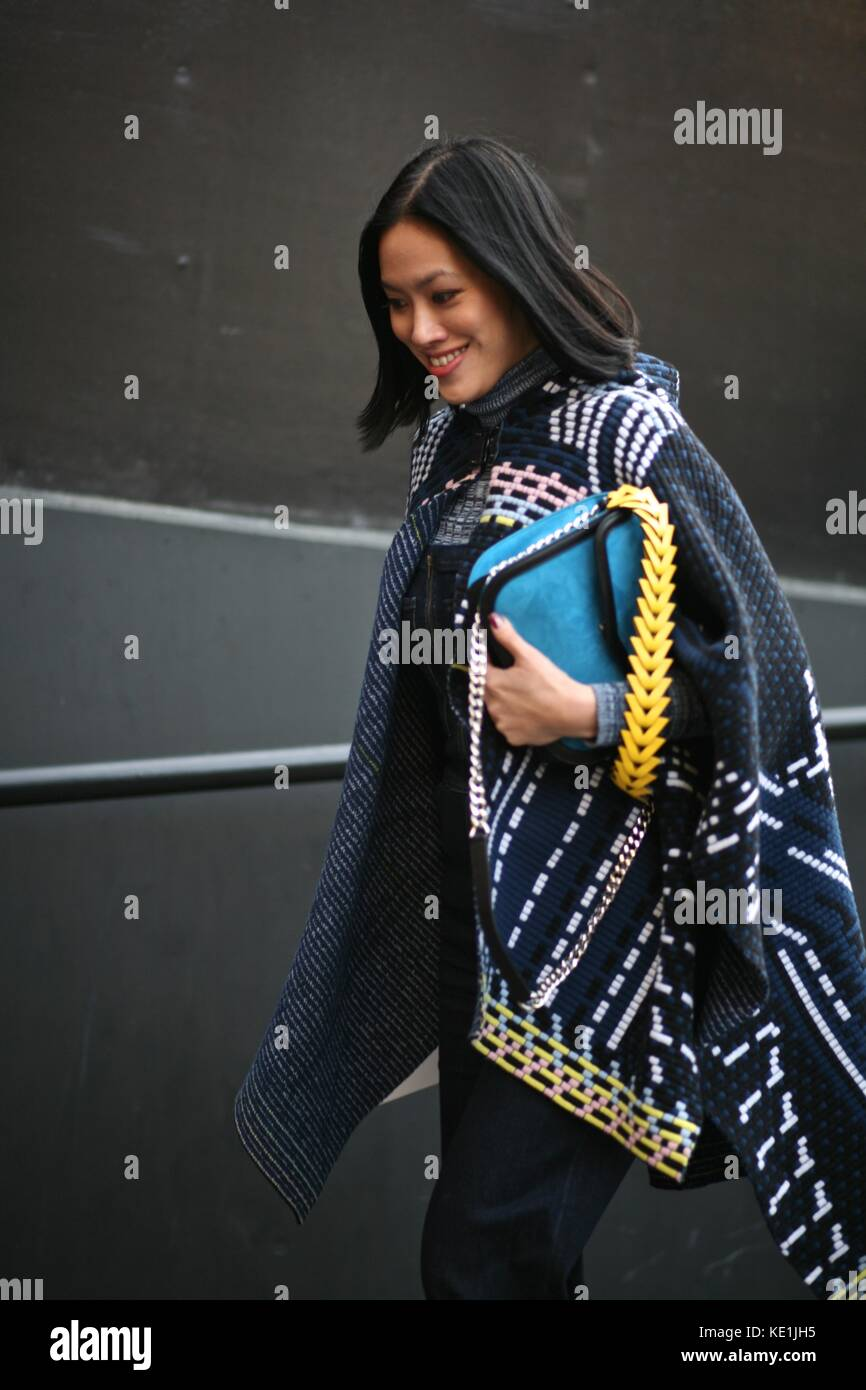 Street Style London Fashion Week  Autumn  Winter 2016 : 22nd Feb  2016 London Uk - Stock Image