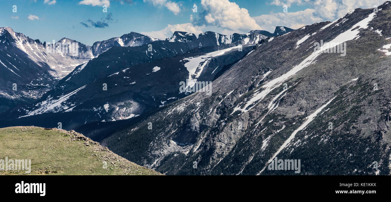 Vast mountain view with tiny people in the image (bottom left) demonstrate scale, Rocky Mountain National Park, Stock Photo