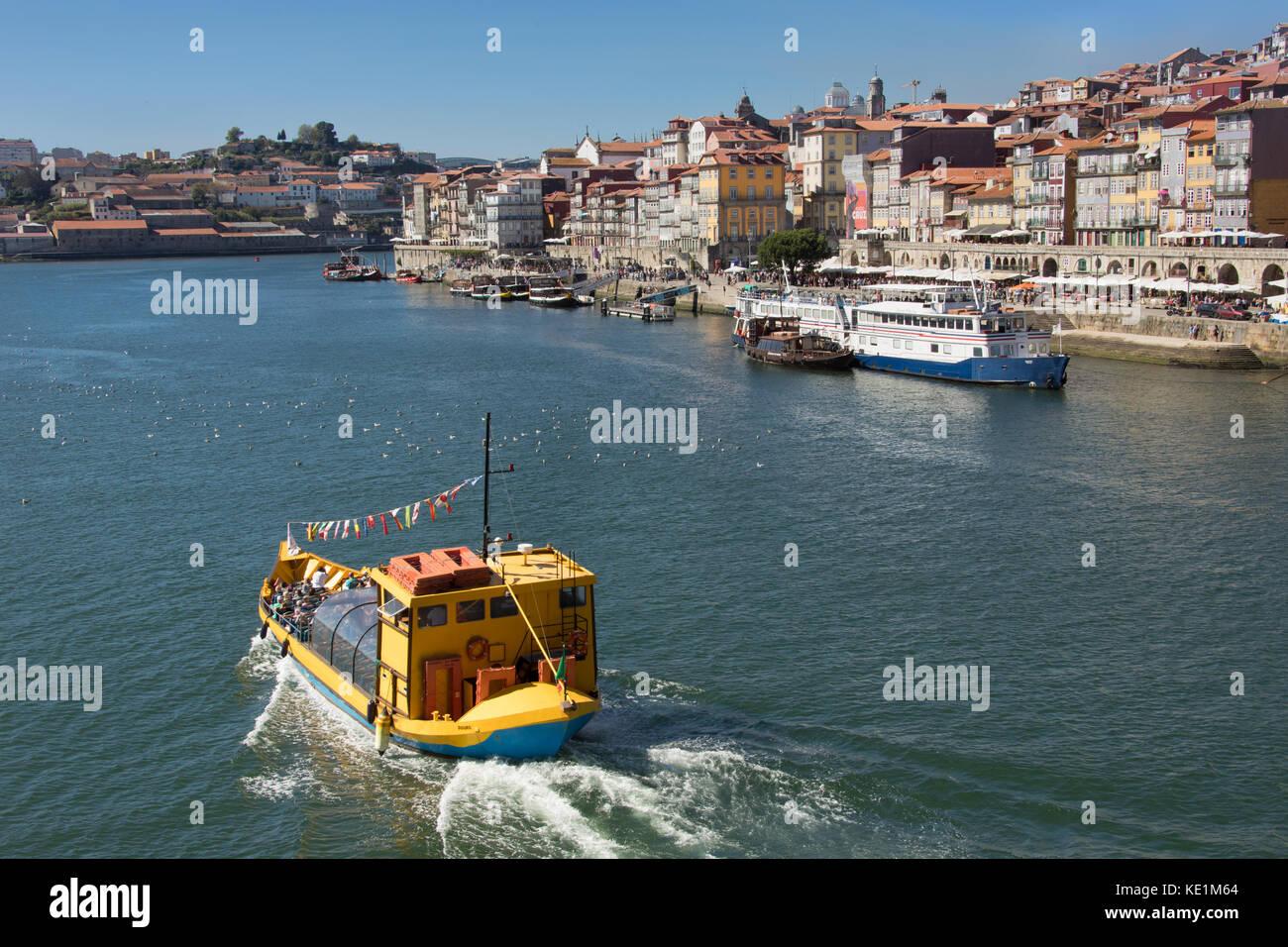 River Tour Boat on the Douro River, Porto, Porttugal - Stock Image
