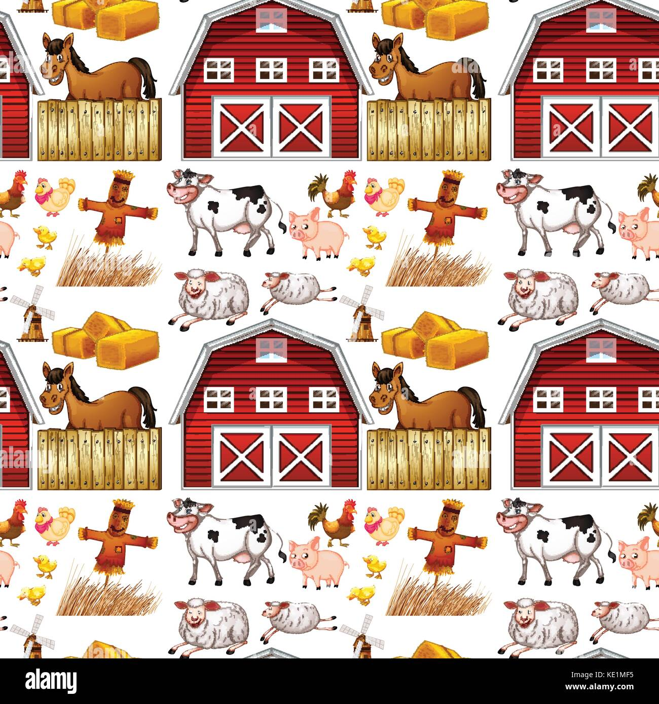 Seamless Farm Animals And Red Barn Illustration