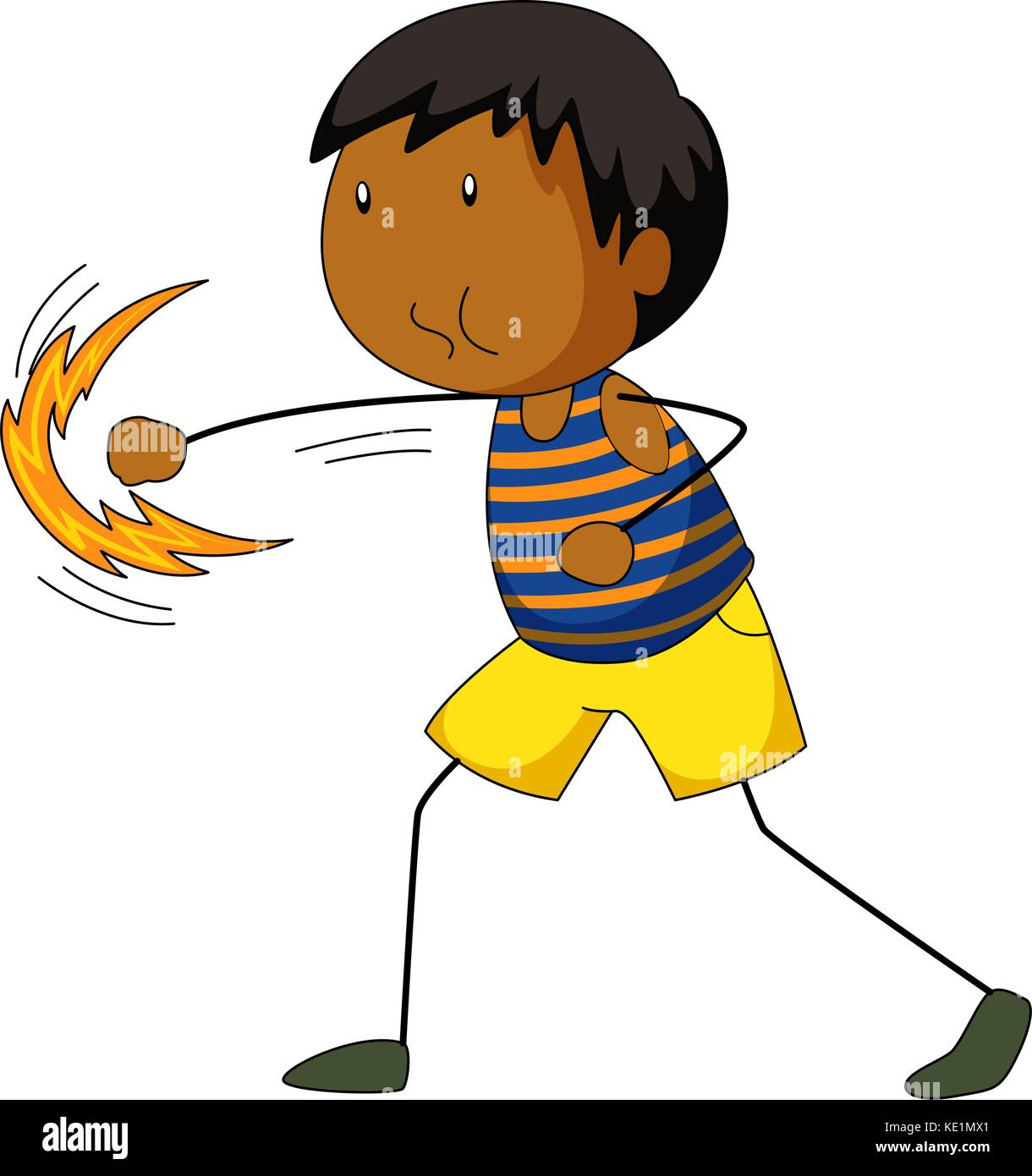 Little boy punching air illustration - Stock Vector