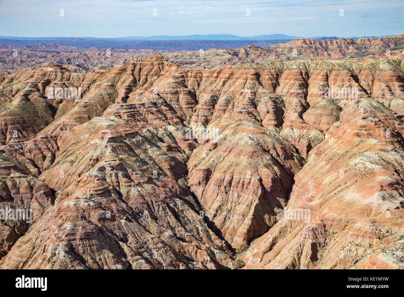 Aerial photos of  the Sheep Mountain Badlands in the Bighorn Basin of Wyoming - Stock Image
