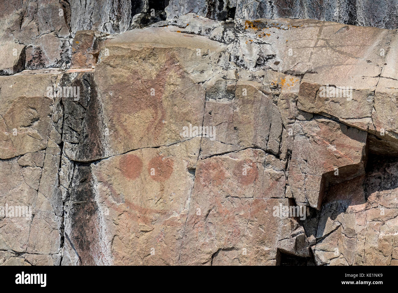 Agawa Rock Pictographs on Agawa Bay in Lake Superior Provincial Park, Ontario, Canada - Stock Image