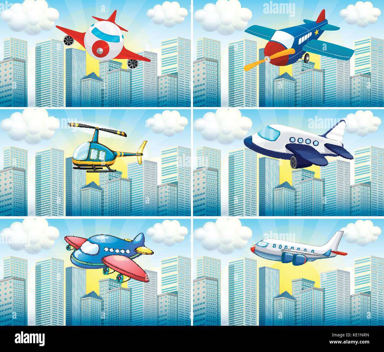 Helicopter and airplanes flying in the city illustration - Stock Vector