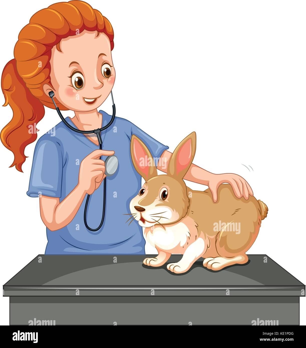 Vet examining little bunny illustration - Stock Vector