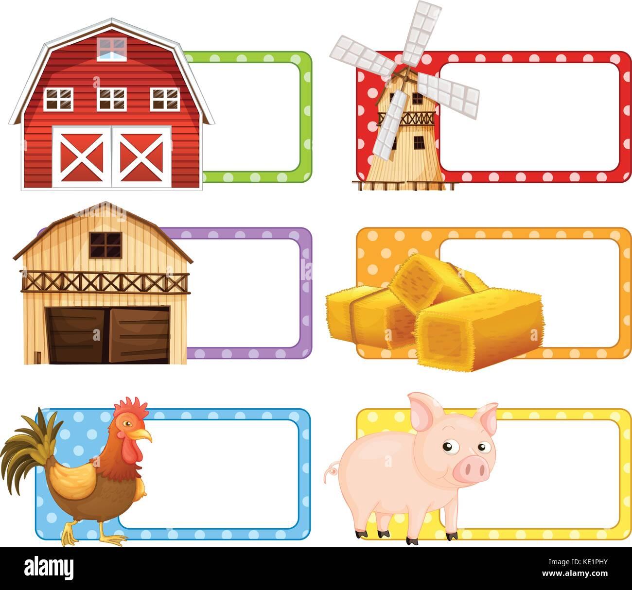Farm Theme Frame Picture Illustration Stock Photos & Farm Theme ...