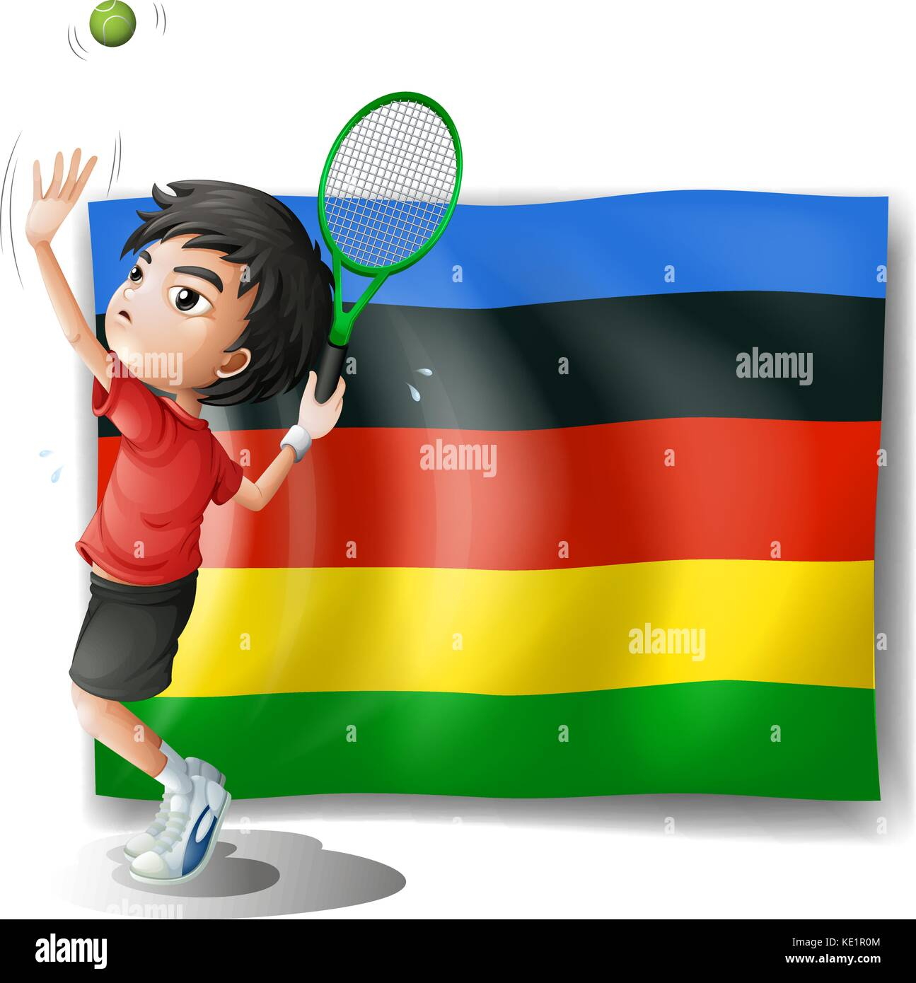 Olympics flag with tennis player illustration - Stock Vector