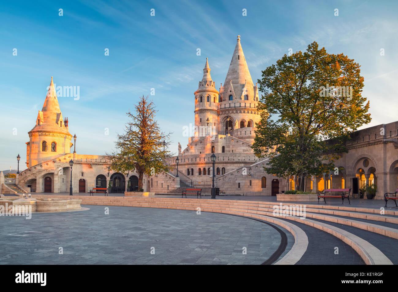 Fisherman's Bastion, Budapest. Image of the Fisherman's Bastion in Budapest, capital city of Hungary, during - Stock Image
