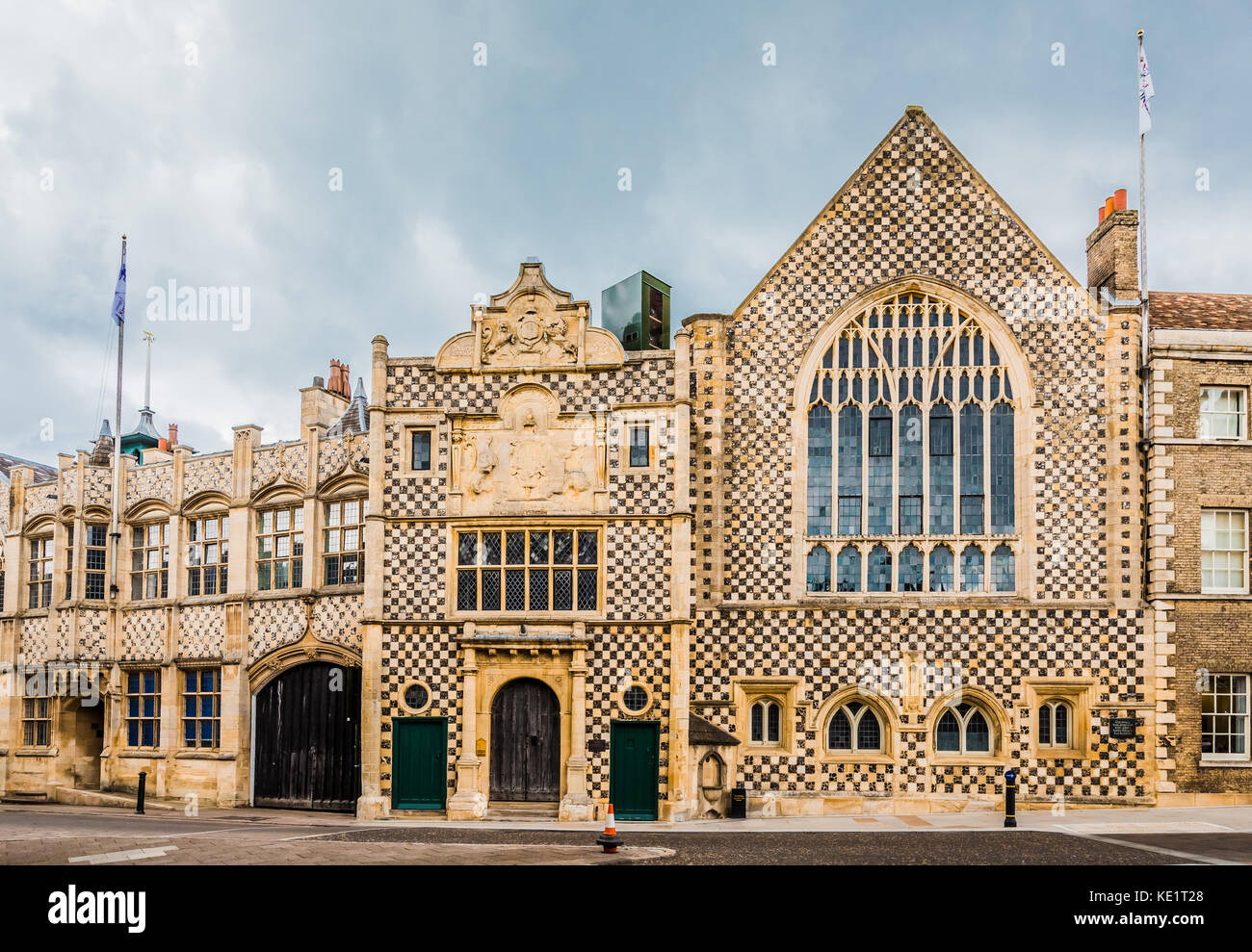 Kings Lynn Guildhall showing medieval English architecture with flint flushwork and chequerboard pattern. - Stock Image