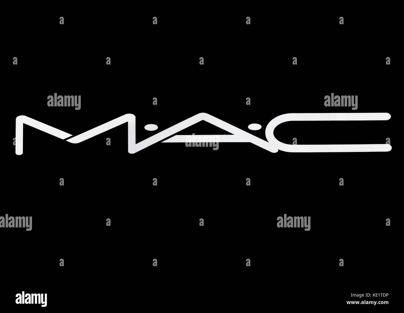 LONDON, UK - MARCH 15, 2017:  MAC Cosmetics logo white font on black background. MAC Cosmetics was founded in Toronto, - Stock Image