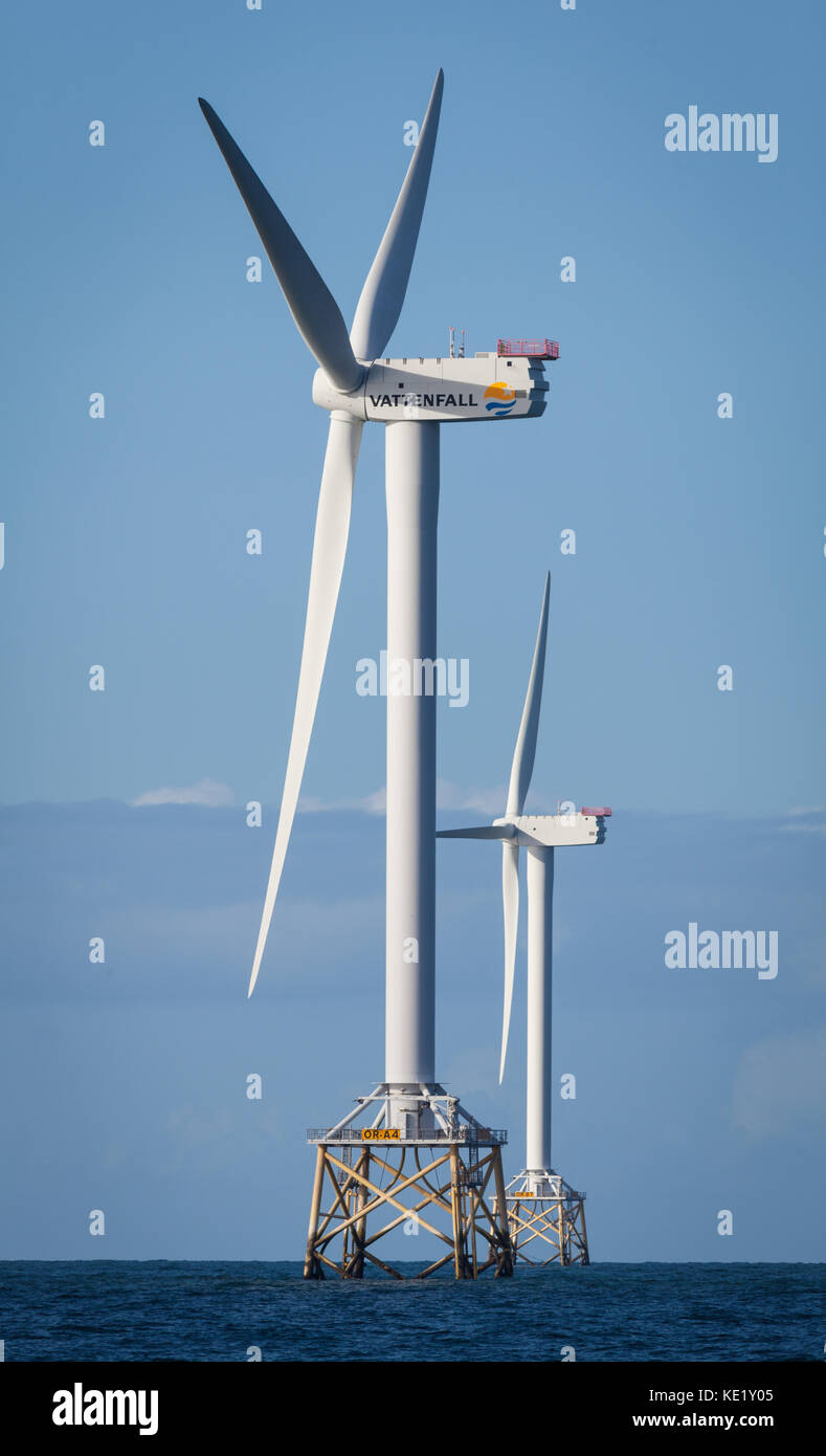 Turbines on the Ormonde Offshore Wind Farm near Barrow-in-Furness, which is operated by the Swedish energy giant, - Stock Image