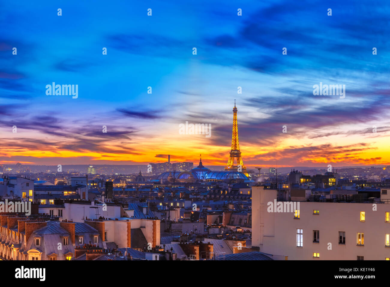 Shimmering Eiffel Tower at sunset in Paris, France Stock Photo
