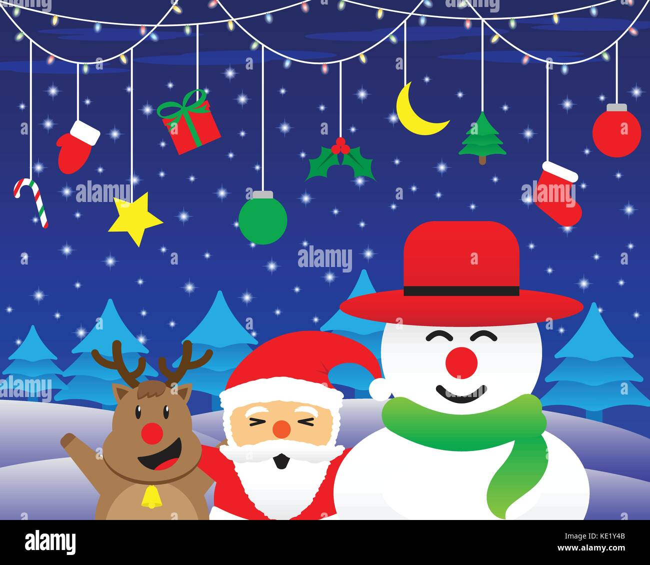 Merry Christmas Cute Reindeer Plump Santa Claus And Chubby Snowman Is Standing Happily