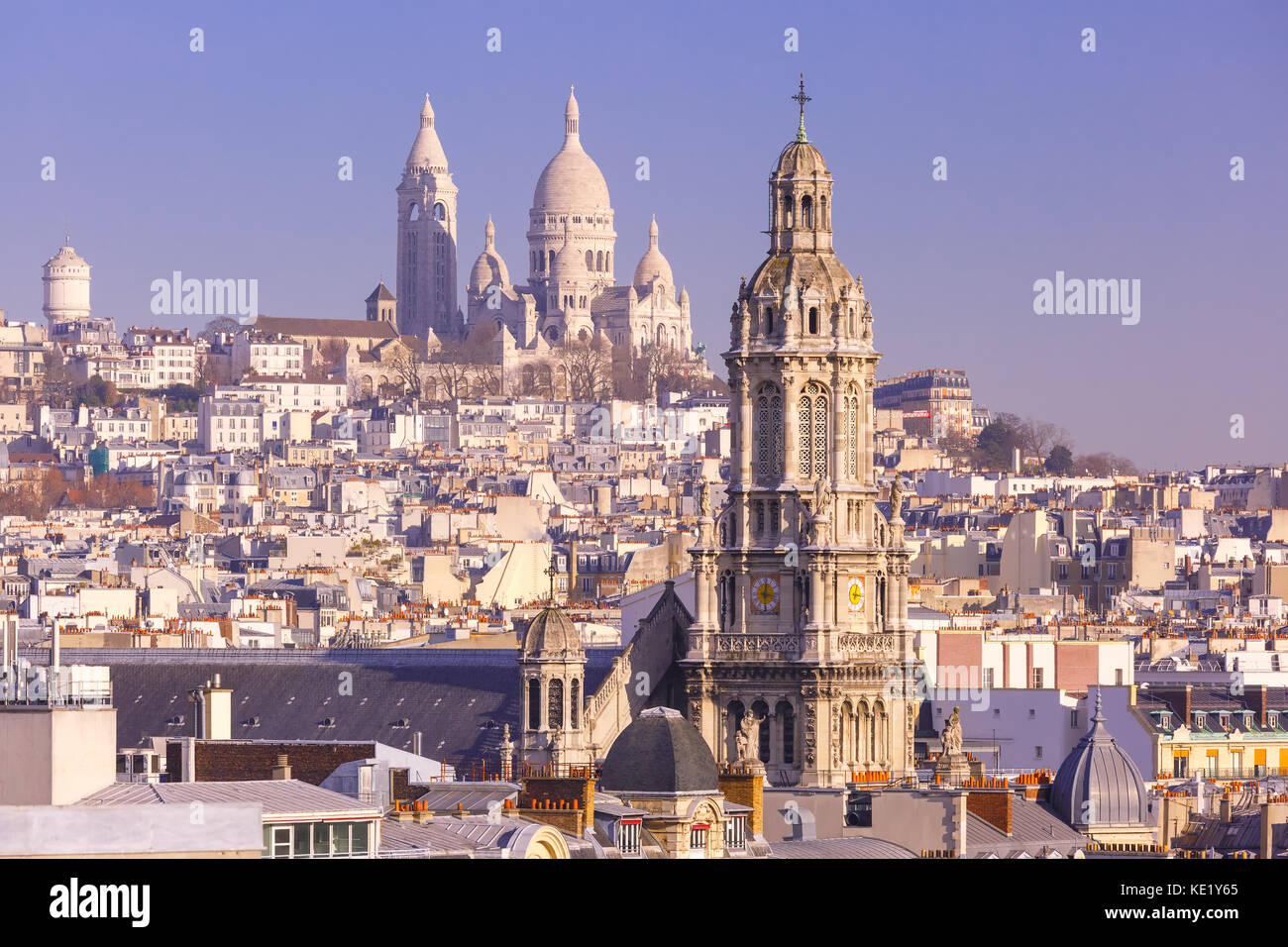 Sacre-Coeur Basilica in the morning, Paris, France - Stock Image