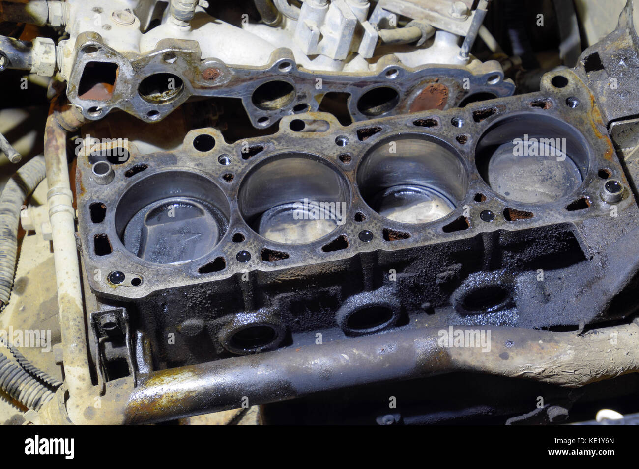 The cylinder block of the four-cylinder engine. Disassembled motor ...