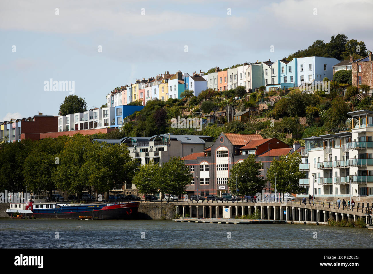 colours houses on the hill over the harbour  Bristol city centre - Stock Image