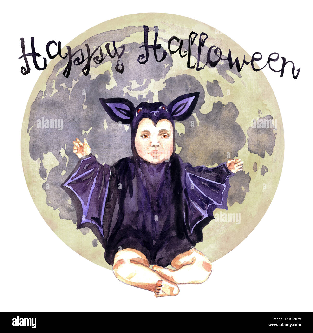 Cute Baby sitting in bat costume with full moon, Happy Halloween, Hand Painted Watercolor Illustration Isolated - Stock Image