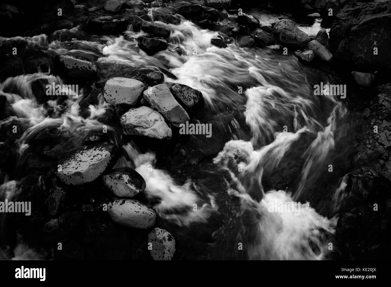 River with rocks in motion blur, Iceland in summer, dramatic black and white - Stock Image