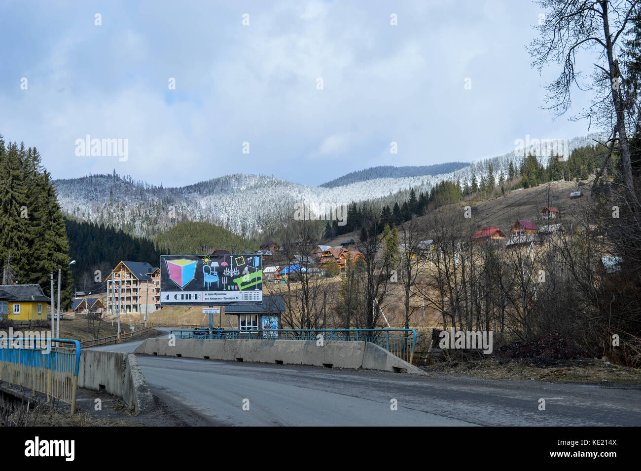 Beautiful winter day in ski resort in caucasian mountains, Bukovel, Ukraine - Stock Image