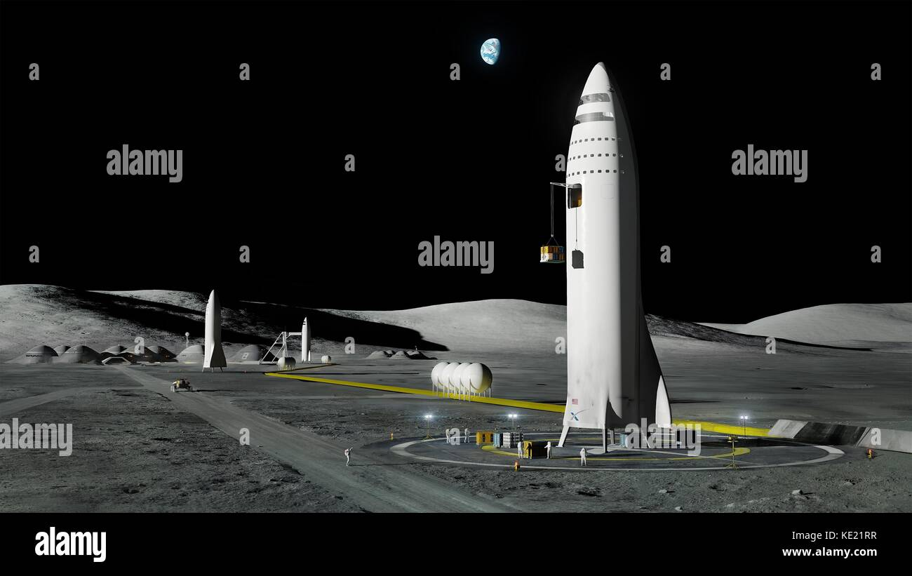 Artists concept illustration of the SpaceX Interplanetary Transport System known as the BFR on the Moon. SpaceX - Stock Image