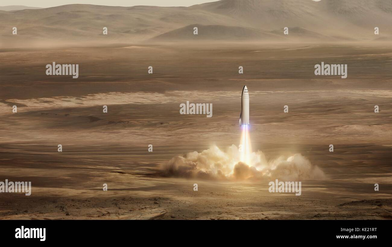 Artists concept illustration of the SpaceX Interplanetary Transport System known as the BFR lifting off from Mars. - Stock Image