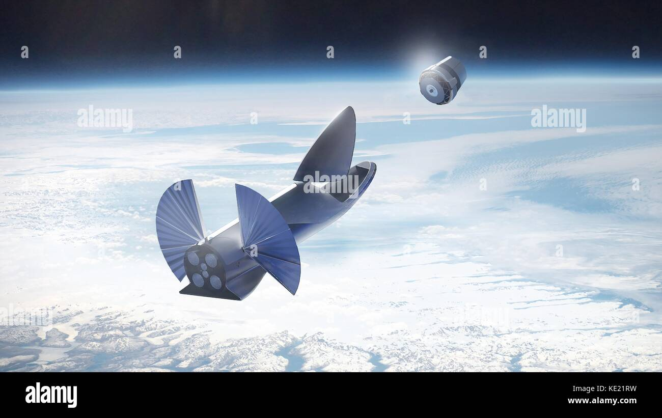Artists concept illustration of the SpaceX Interplanetary Transport System known as the BFR deploying a space capsule - Stock Image