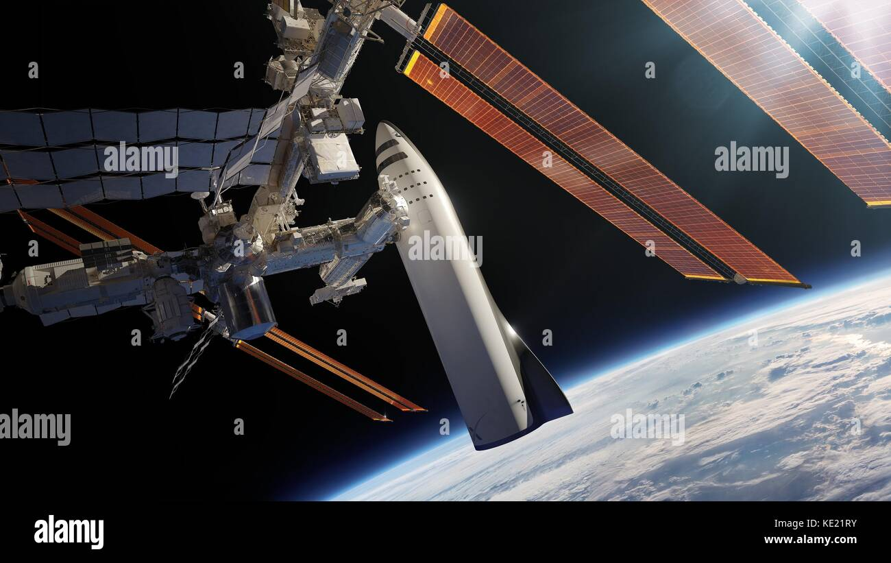 Artists concept illustration of the SpaceX Interplanetary Transport System known as the BFR docked at the International - Stock Image