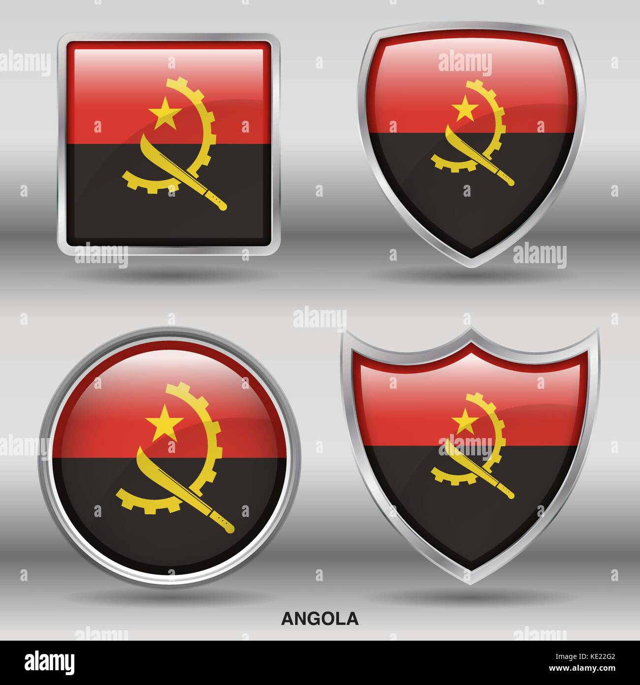 Angola Flag - 4 shapes Flags States Country in the World with clipping path - Stock Vector