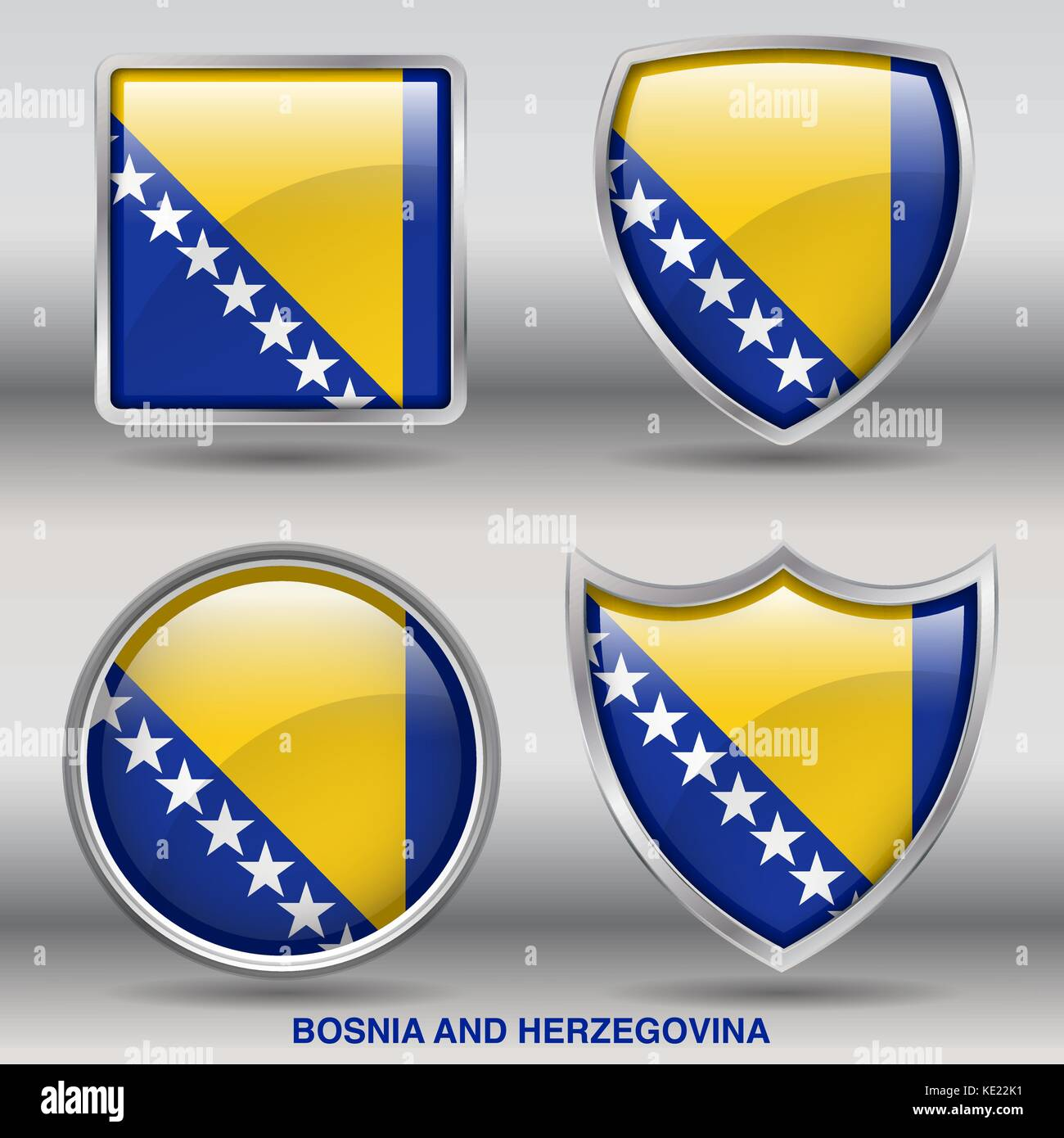 Bosnia Flag - 4 shapes Flags States Country in the World with clipping path - Stock Vector