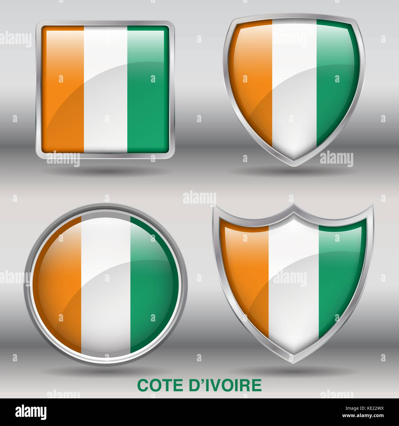 Cote D'Ivoire Flag - 4 shapes Flags States Country in the World with clipping path - Stock Image