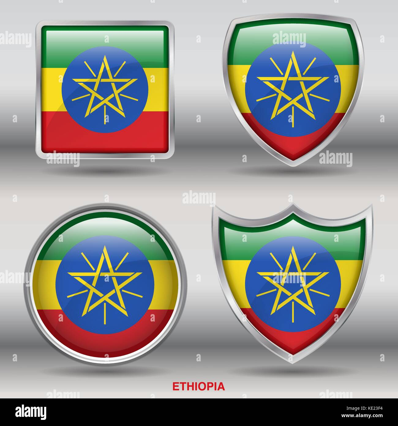 Ethiopia Flag - 4 shapes Flags States Country in the World with clipping path - Stock Vector