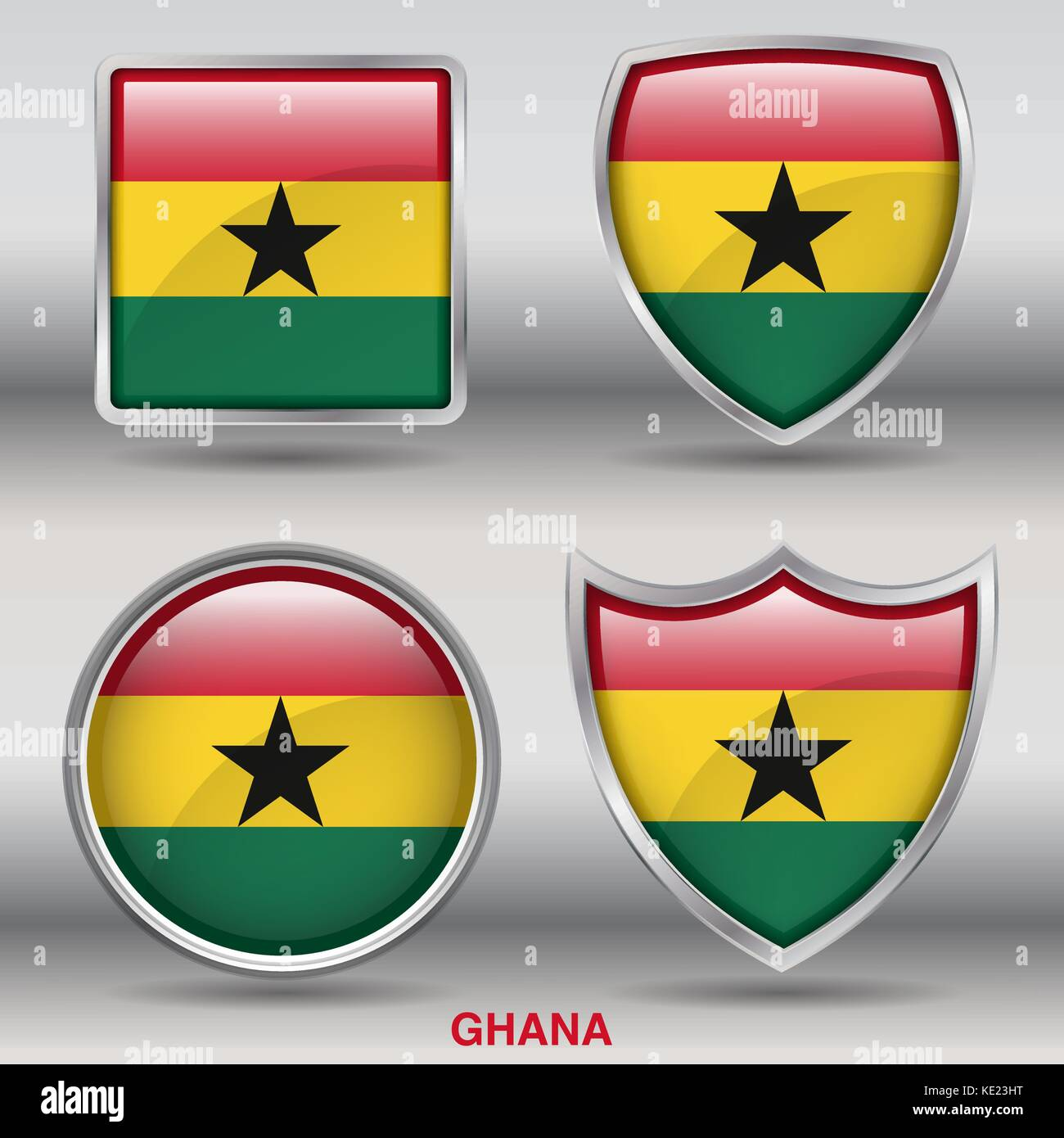 Ghana Flag - 4 shapes Flags States Country in the World with clipping path - Stock Vector