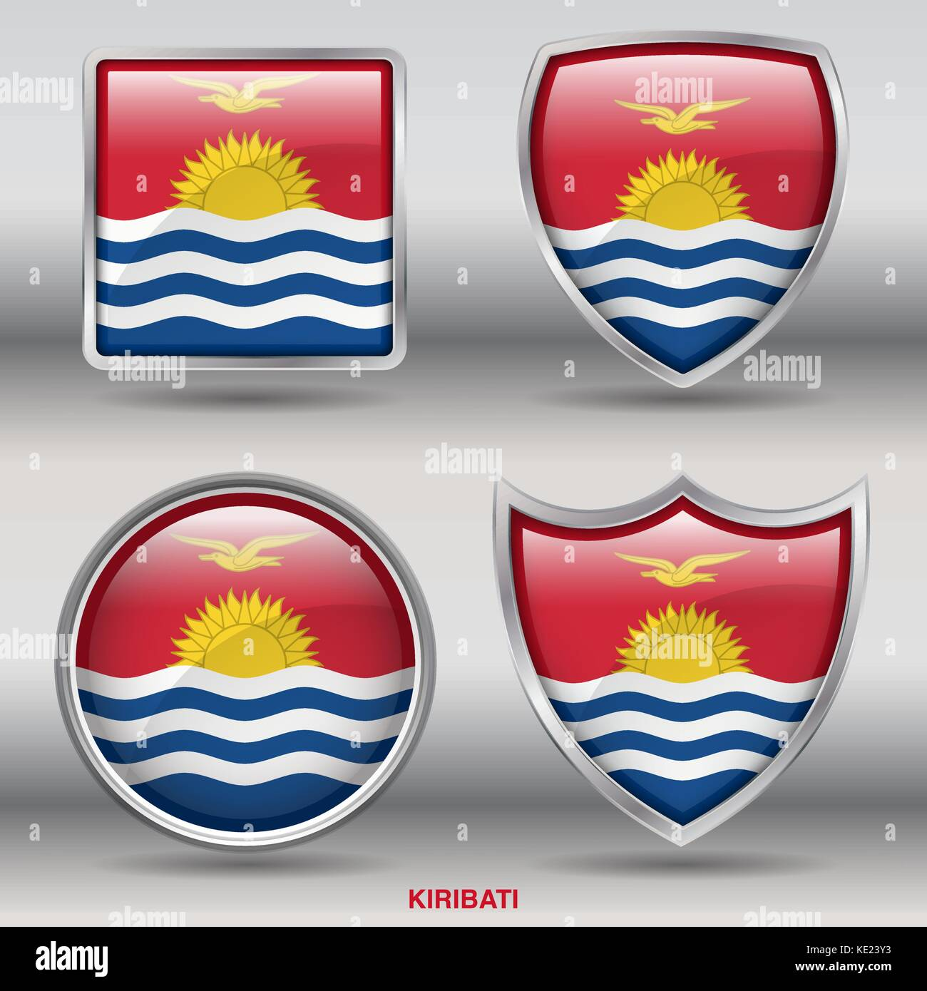 Kiribati Flag - 4 shapes Flags States Country in the World with clipping path - Stock Image