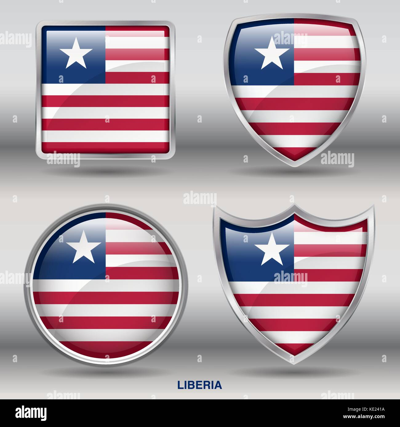 Liberia Flag - 4 shapes Flags States Country in the World with clipping path - Stock Image