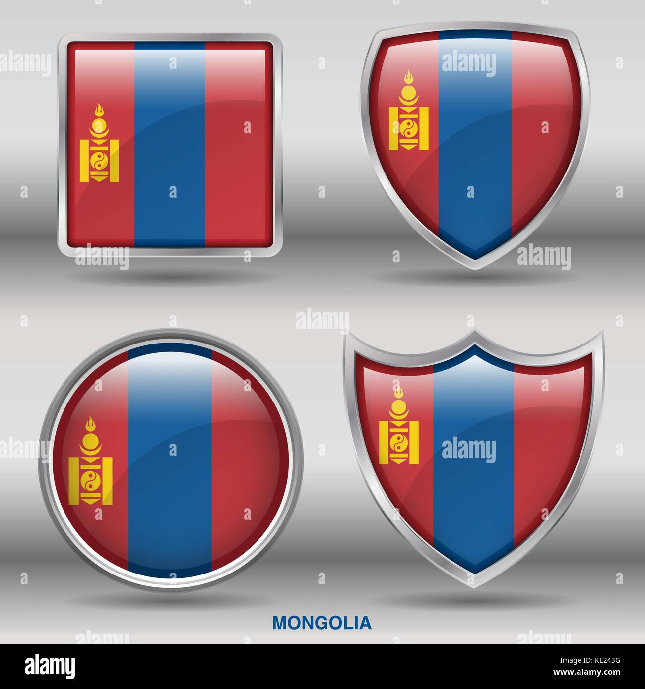 Mongolia Flag - 4 shapes Flags States Country in the World with clipping path Stock Vector