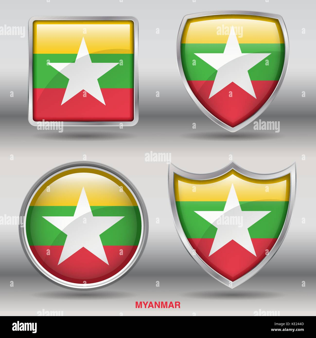 Myanmar Flag - 4 shapes Flags States Country in the World with clipping path - Stock Vector