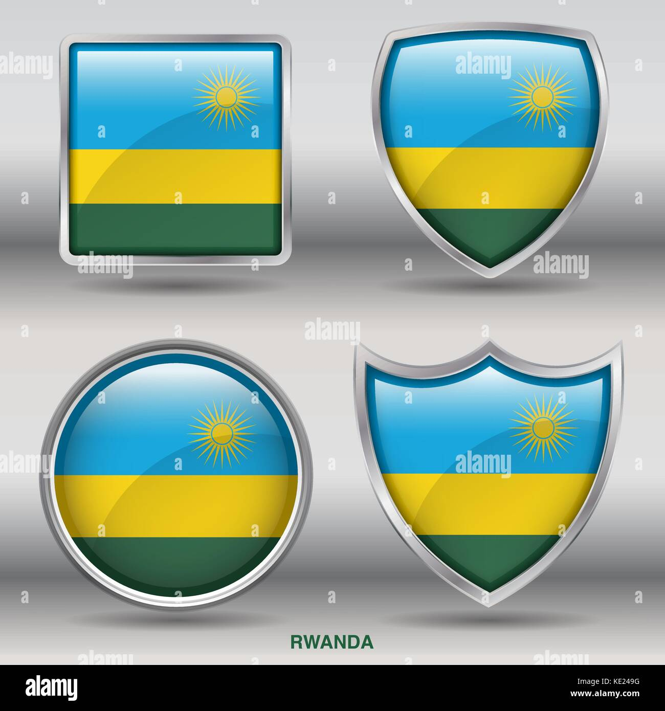 Rwanda Flag - 4 shapes Flags States Country in the World with clipping path - Stock Vector