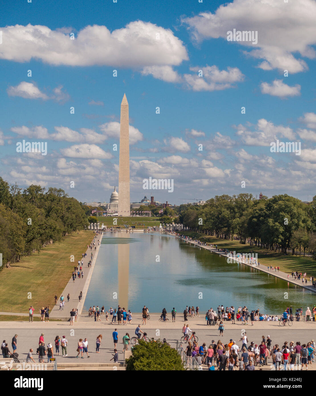 WASHINGTON, DC, USA - National Mall, Lincoln Memorial Reflecting Pool and Washington Monument. - Stock Image