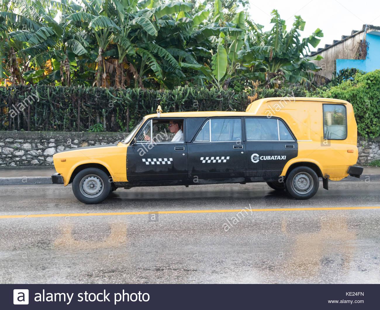 Santa Clara, Cuba: Cubataxi long LADA car (extended by making custom ...