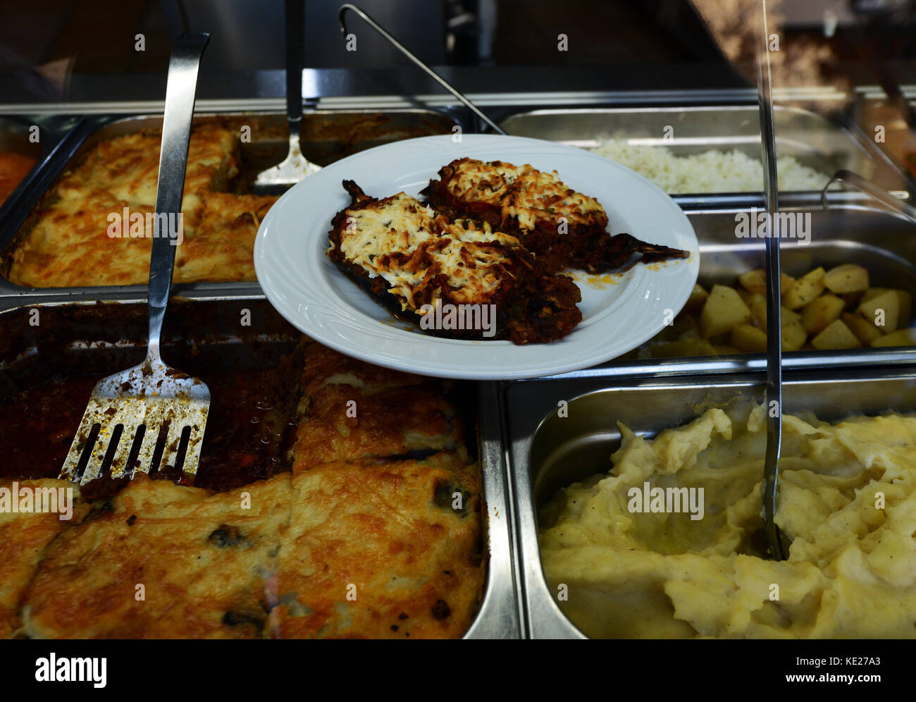 A local eatery serving Greek food in Thessaloniki., - Stock Image