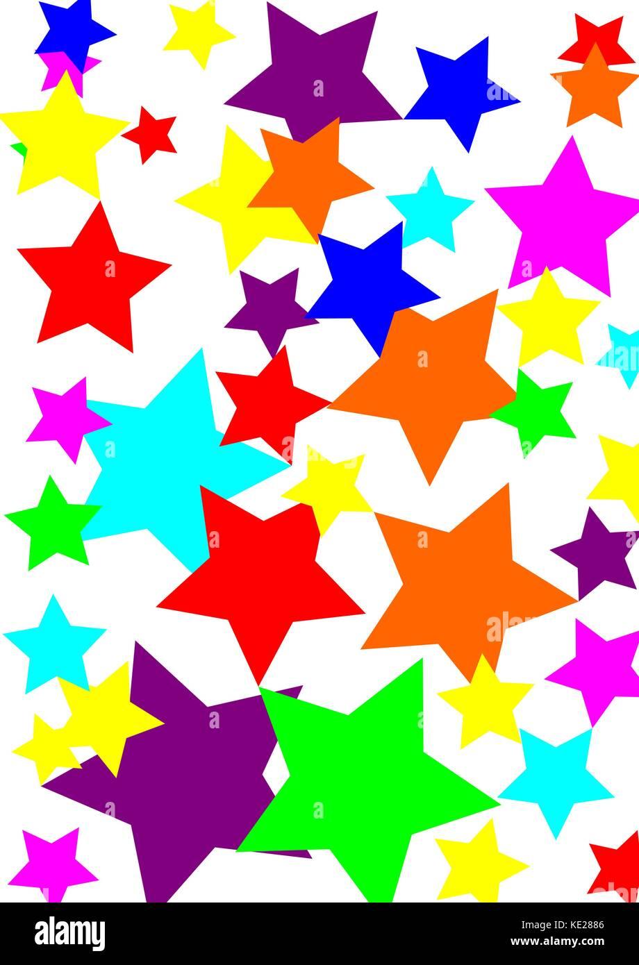 white background multi colored stars - Stock Vector