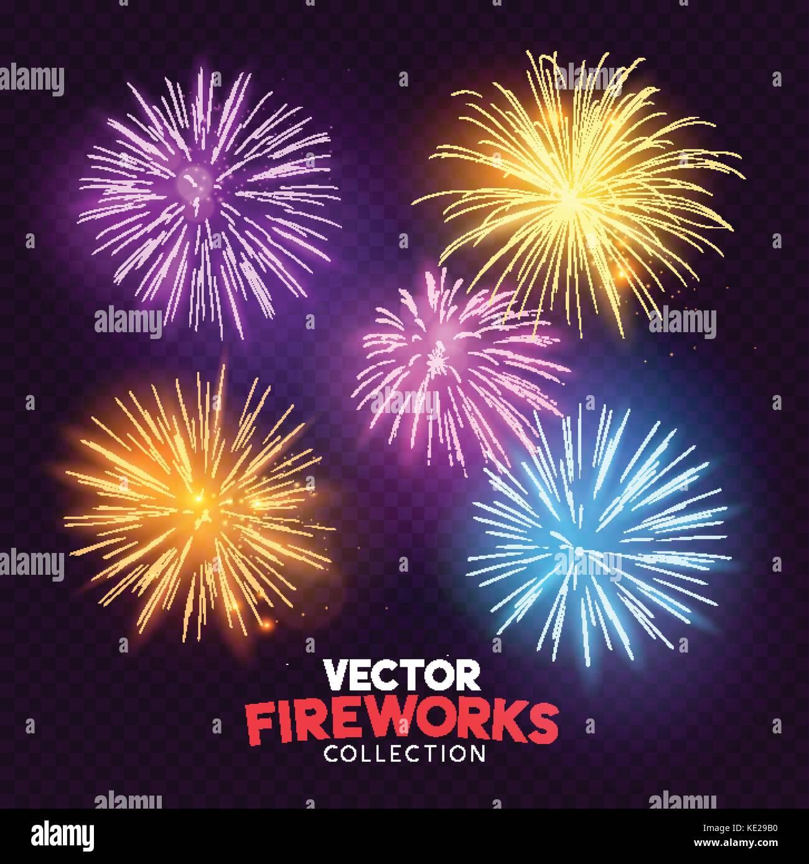 A set of Isolated bursting vector fireworks, holiday celebration symbols! - Stock Image