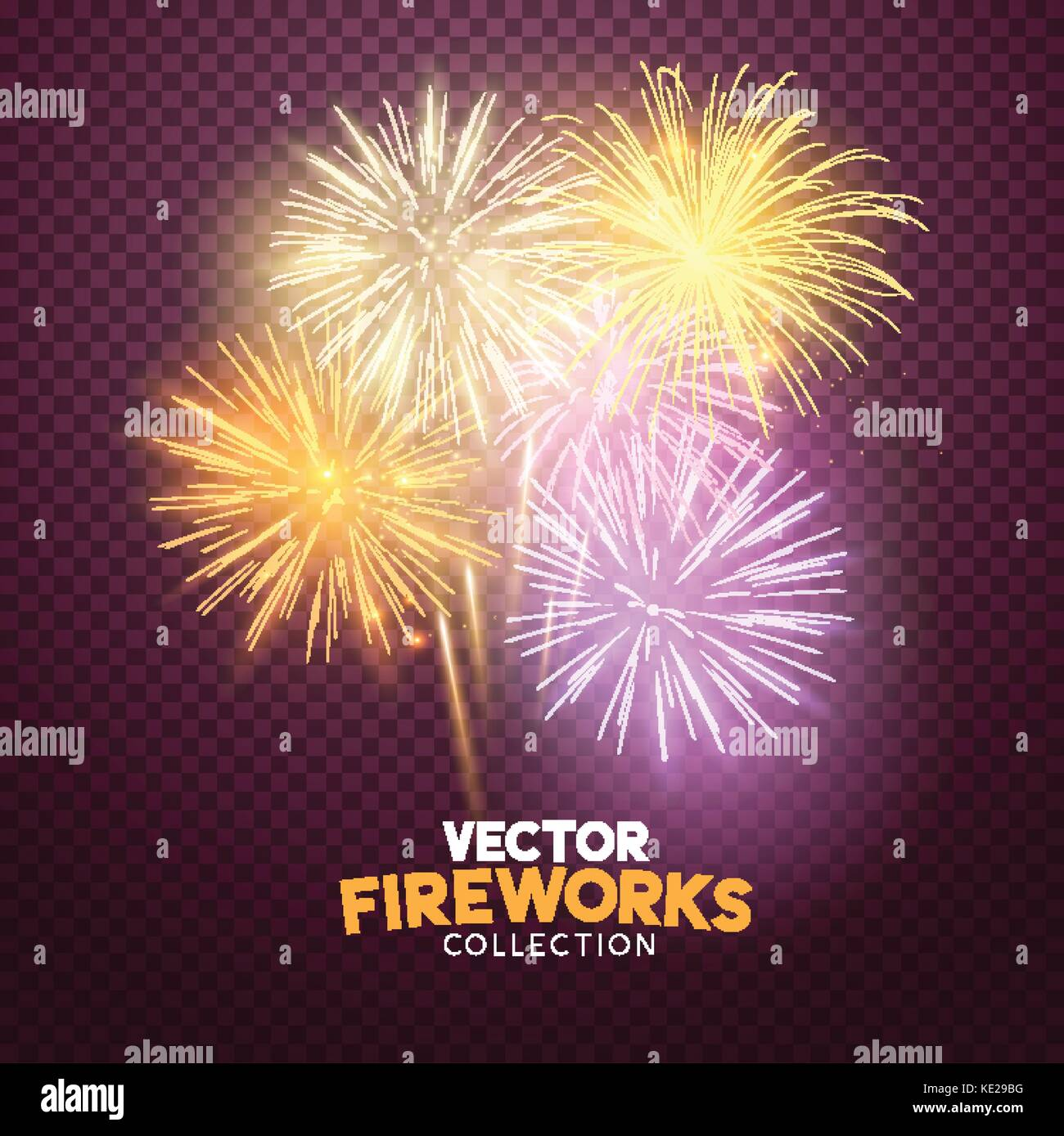 A set of Isolated bursting vector fireworks in pink and gold, holiday celebration symbols! - Stock Image