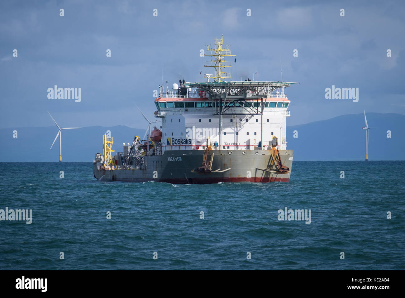 The cable lay vessel, Ndeavor, working on Walney Extension Offshore Wind Farm - Stock Image